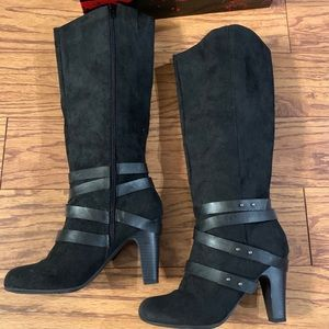 Fergalicious faux suede/leather boots